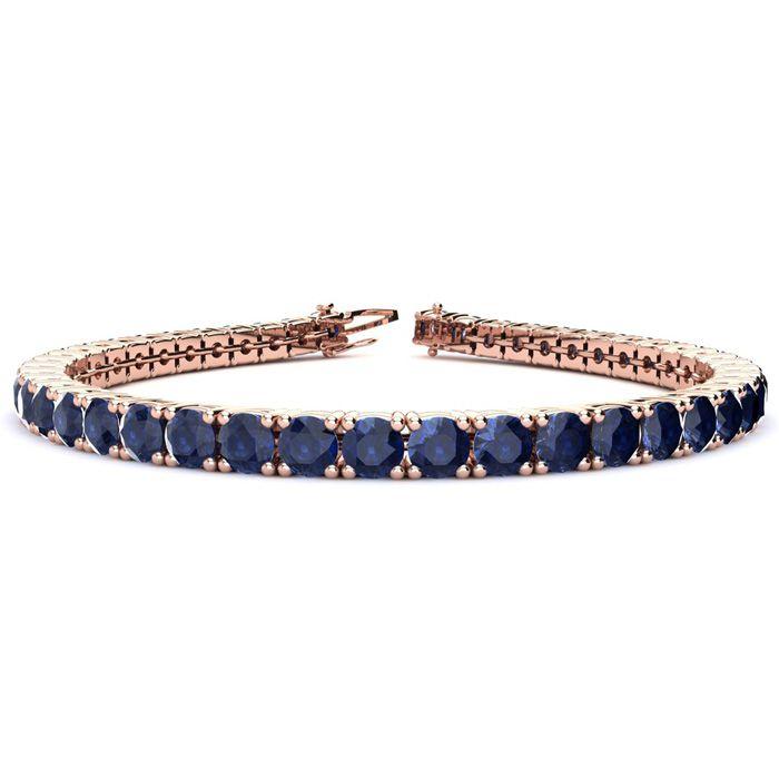 6 Inch 11 Carat Sapphire Tennis Bracelet in 14K Rose Gold (10.3 g