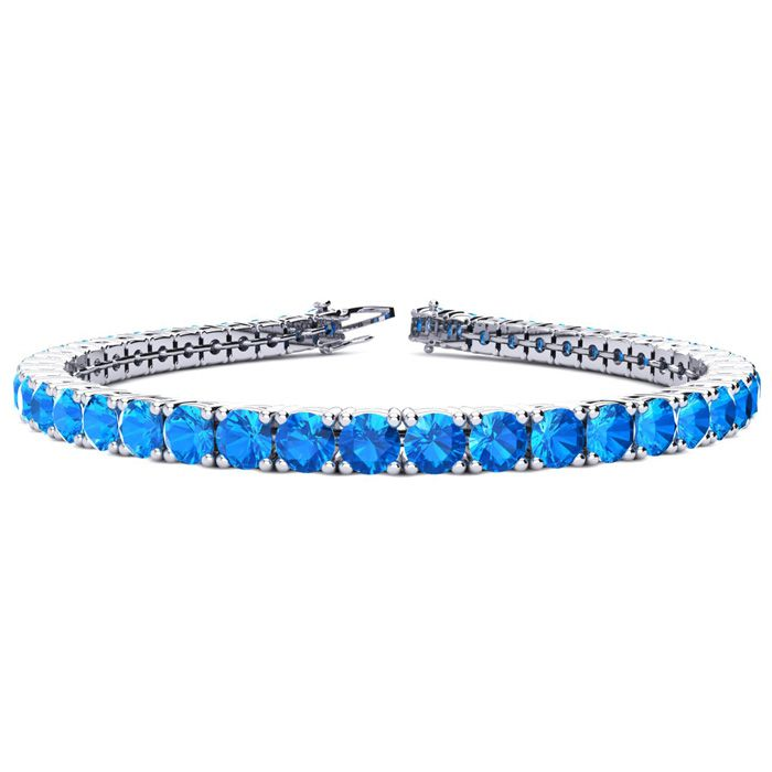 6 Inch 9 3/4 Carat Blue Topaz Tennis Bracelet in 14K White Gold (