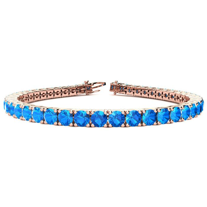 6.5 Inch 10 3/4 Carat Blue Topaz Tennis Bracelet in 14K Rose Gold