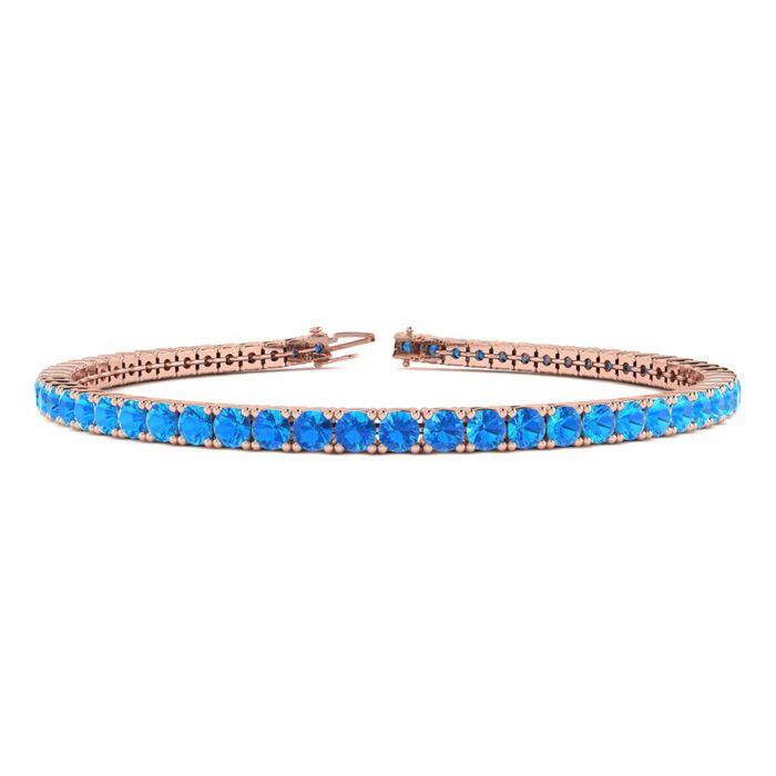 8.5 Inch 6 1/3 Carat Blue Topaz Tennis Bracelet in 14K Rose Gold