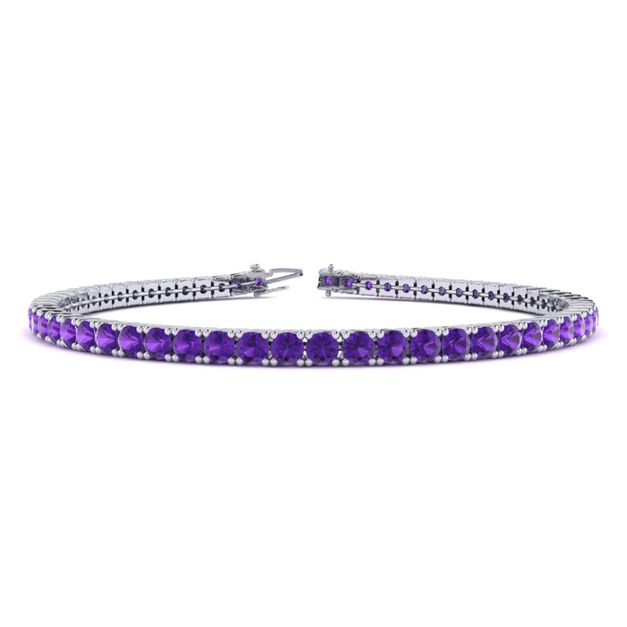 6 Inch 3 1/2 Carat Amethyst Tennis Bracelet in 14K White Gold (8.1 g) by SuperJeweler