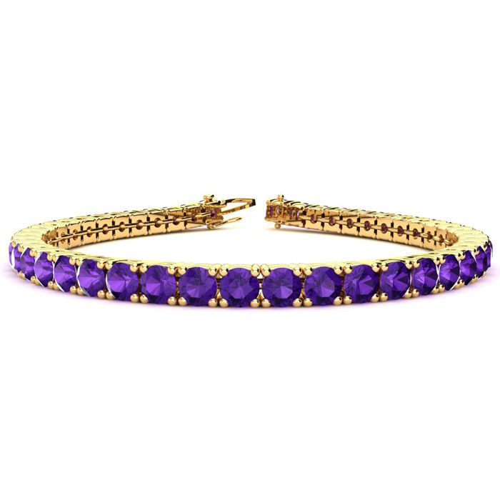 8 Inch 10 1/2 Carat Amethyst Tennis Bracelet in 14K Yellow Gold (