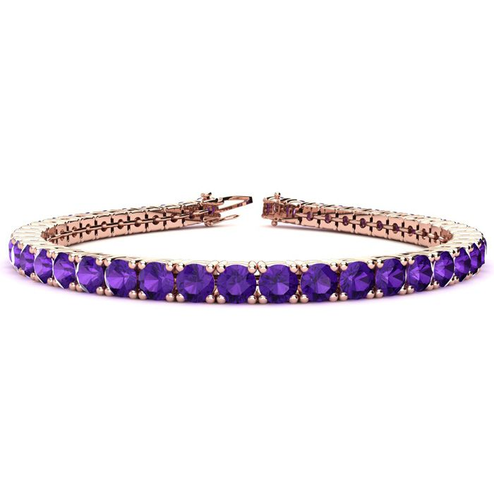 6 Inch 7 3/4 Carat Amethyst Tennis Bracelet in 14K Rose Gold (10.