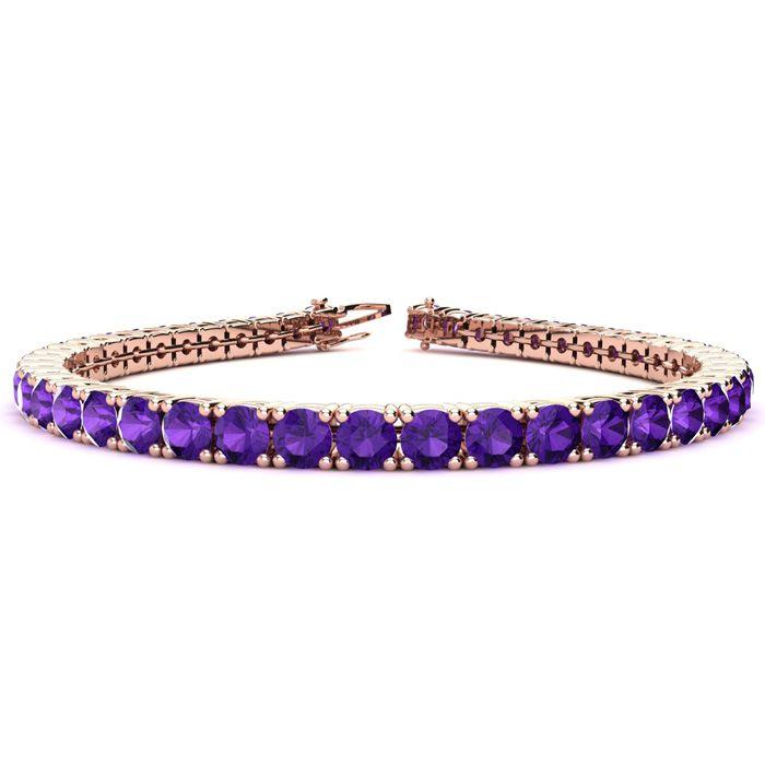 7.5 Inch 9 3/4 Carat Amethyst Tennis Bracelet in 14K Rose Gold (12.9 g) by SuperJeweler