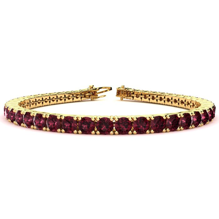 Image of 7 Inch 10 Carat Garnet Tennis Bracelet In 14K Yellow Gold
