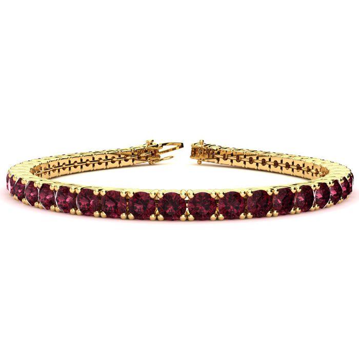 8 Inch 11.5 Carat Garnet Tennis Bracelet in 14K Yellow Gold (13.7