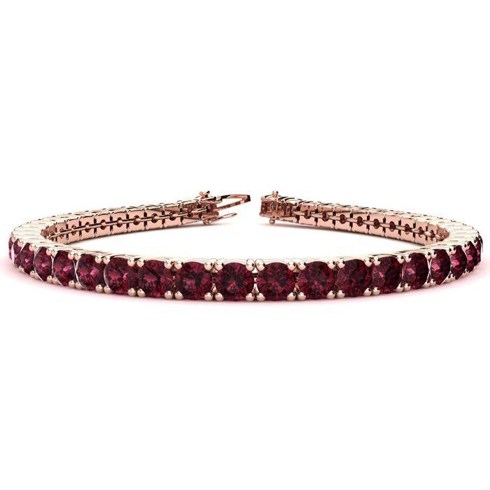 6 Inch 8 1/2 Carat Garnet Tennis Bracelet in 14K Rose Gold (10.3