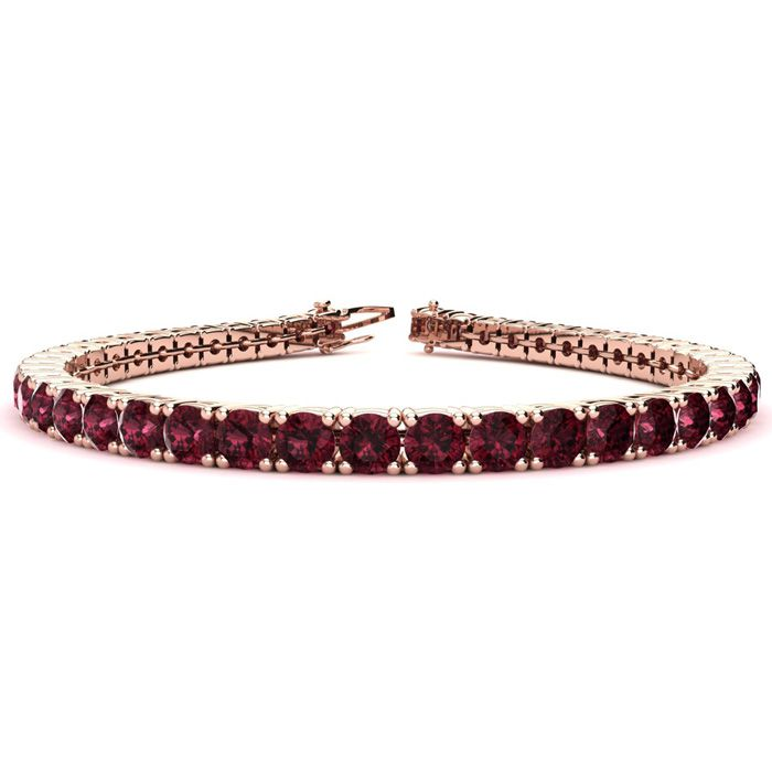6.5 Inch 9 1/2 Carat Garnet Tennis Bracelet in 14K Rose Gold (11.