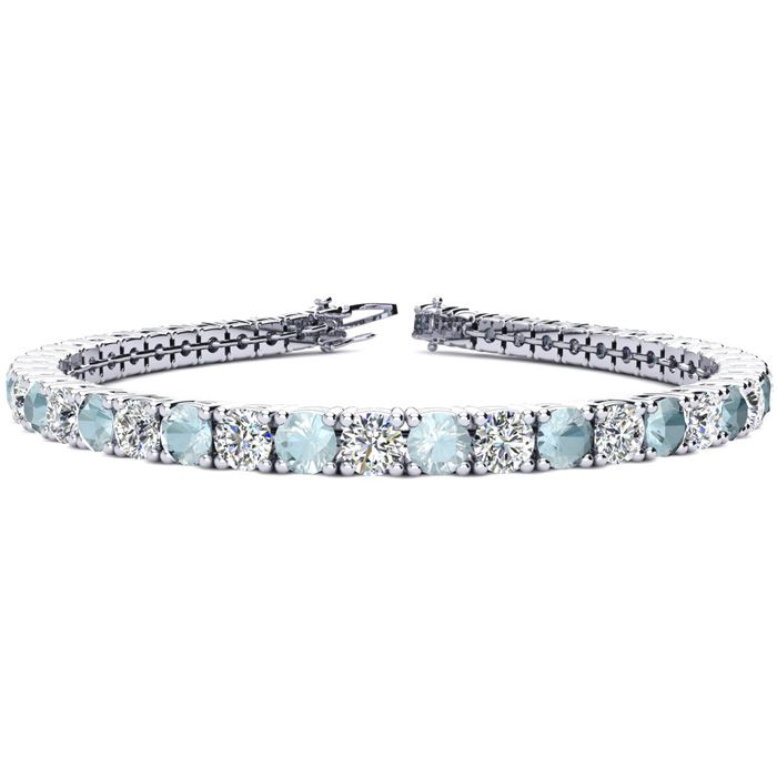 7 Carat Aquamarine & Diamond Tennis Bracelet in 14K White Gold (10.3 g), 6 Inches,  by SuperJeweler