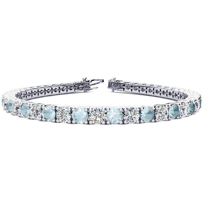 9 Inch 10 1/2 Carat Aquamarine and Diamond Tennis Bracelet In 14K White Gold 27097