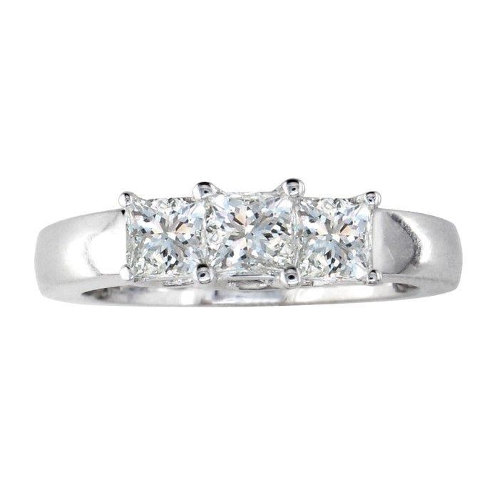 1.5 Carat Princess Cut Three Diamond Engagement Ring in 14k White