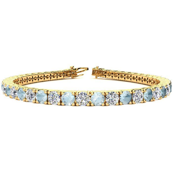 7 Inch 8 1 4 Carat Aquamarine And Diamond Tennis Bracelet In 14k Yellow Gold Item Number Jwl 27100