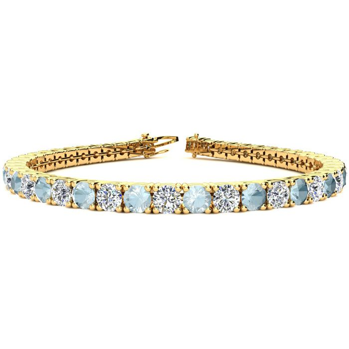 8.5 Inch 10 Carat Aquamarine and Diamond Tennis Bracelet In 14K Yellow Gold 27103
