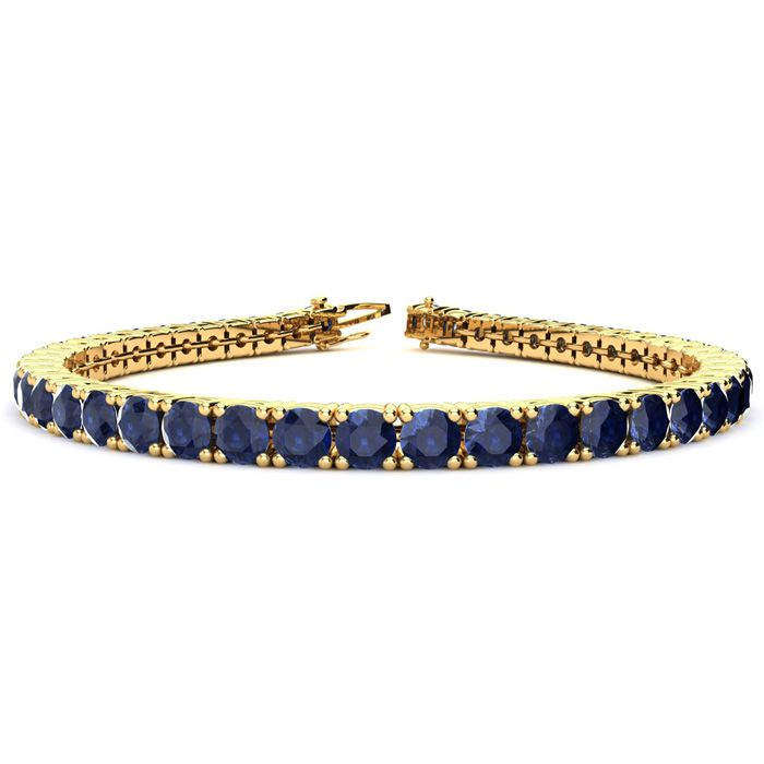 13 3/4 Carat Sapphire Tennis Bracelet in 14K Yellow Gold (10.3 g), 6 Inch by SuperJeweler