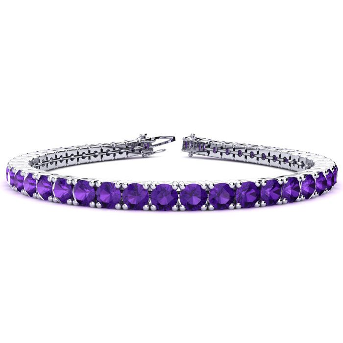 9 3/4 Carat Amethyst Tennis Bracelet in 14K White Gold (10.3 g),