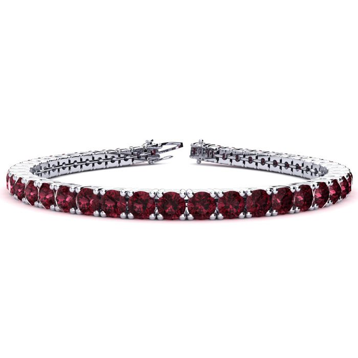 10 3/4 Carat Garnet Tennis Bracelet in 14K White Gold (10.3 g), 6
