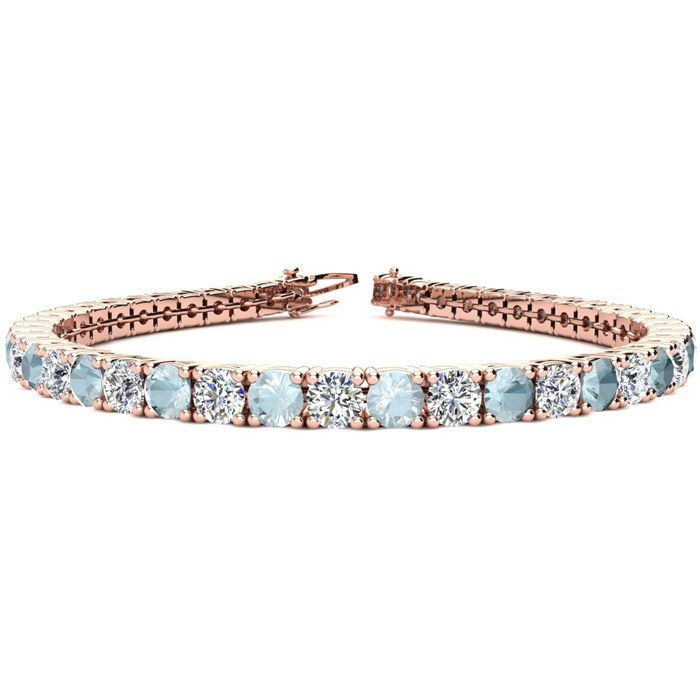 9 1/2 Carat Aquamarine & Diamond Tennis Bracelet in 14K Rose Gold (13.7 g), 8 Inches,  by SuperJeweler