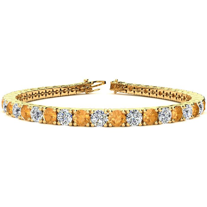 8 Inch 10 1/2 Carat Citrine and Diamond Tennis Bracelet In 14K Yellow Gold