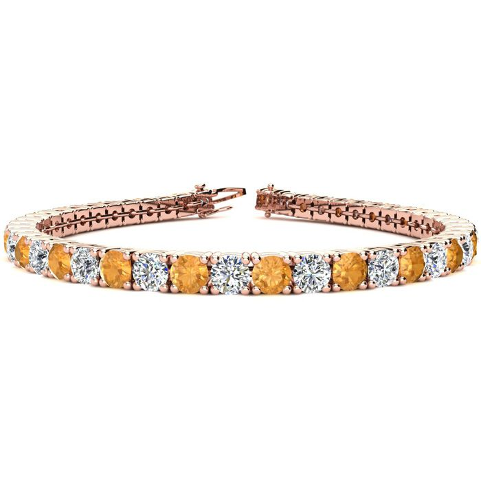 10 1/2 Carat Citrine & Diamond Tennis Bracelet in 14K Rose Gold (13.7 g), 8 Inches,  by SuperJeweler