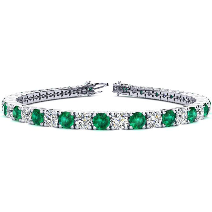 8 Inch 12 Carat Emerald and Diamond Tennis Bracelet In 14K White Gold
