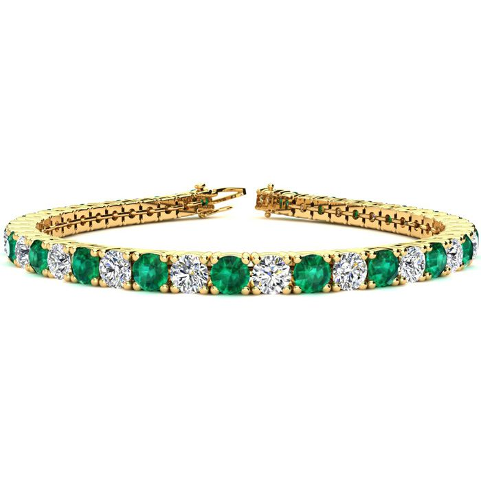 8.5 Inch 12 1/2 Carat Emerald and Diamond Tennis Bracelet In 14K Yellow Gold
