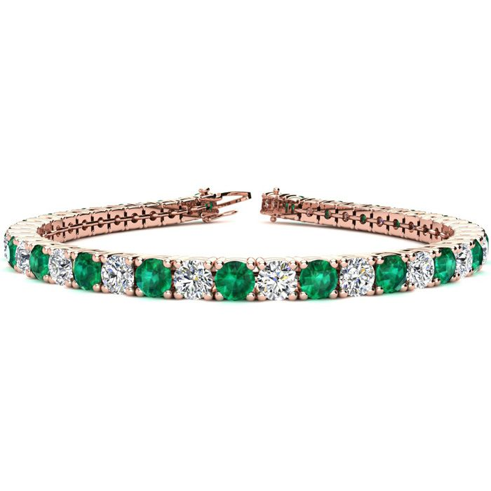 7 Inch 10 1/3 Carat Emerald and Diamond Tennis Bracelet In 14K Rose Gold