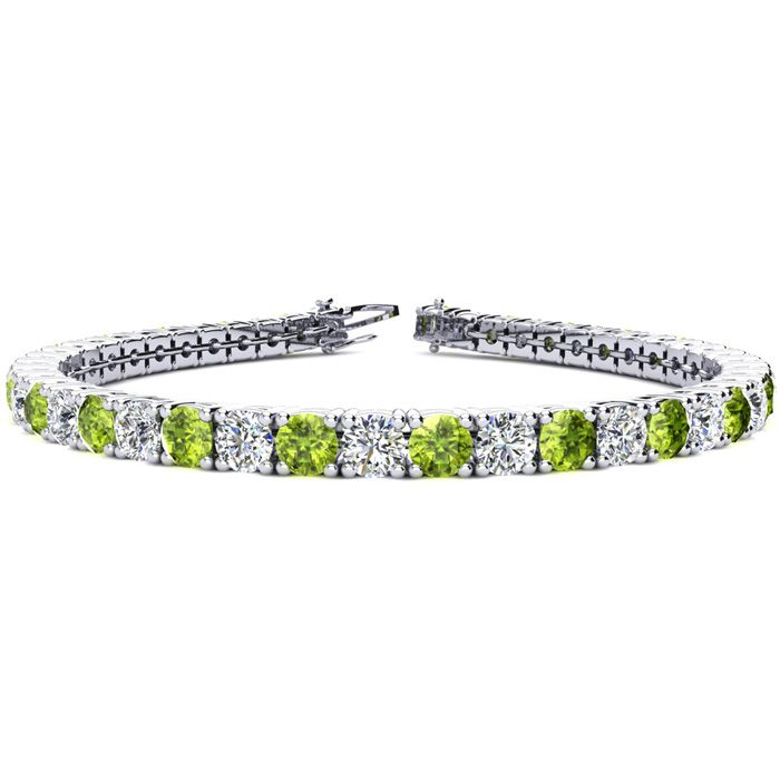 9 Inch 11 3/4 Carat Peridot and Diamond Tennis Bracelet In 14K White Gold