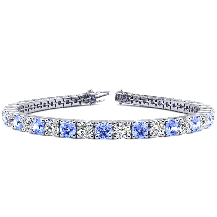 9 Inch 11 1/2 Carat Tanzanite and Diamond Tennis Bracelet In 14K White Gold