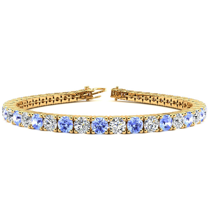 7 Inch 9 Carat Tanzanite and Diamond Tennis Bracelet In 14K Yellow Gold