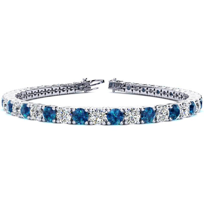 8.5 Inch 11 1/5 Carat Blue and White Diamond Tennis Bracelet In 14K White Gold