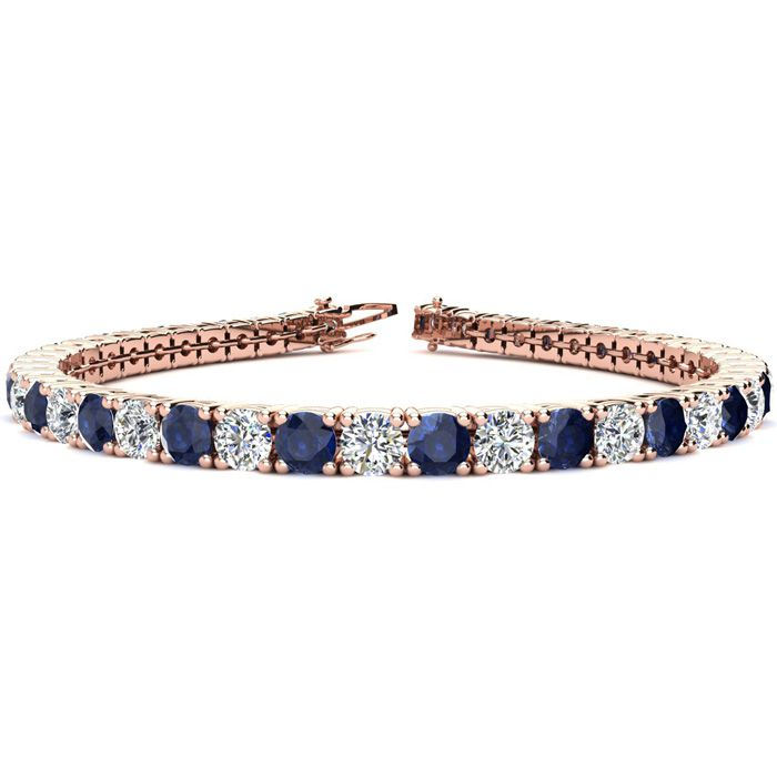 9 Inch 14 Carat Sapphire and Diamond Tennis Bracelet In 14K Rose Gold