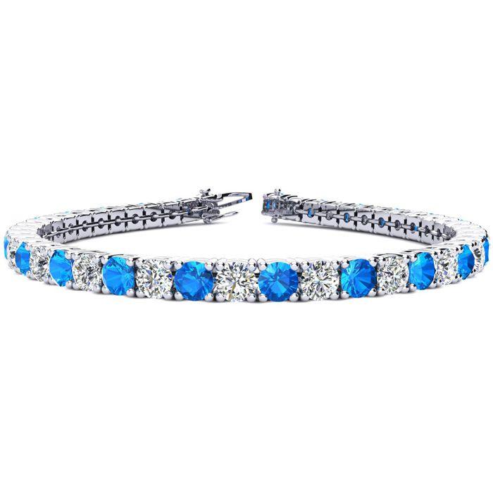 8.5 Inch 12 1/2 Carat Blue Topaz and Diamond Tennis Bracelet In 14K White Gold