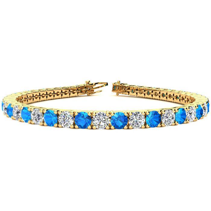 8.5 Inch 12 1/2 Carat Blue Topaz and Diamond Tennis Bracelet In 14K Yellow Gold