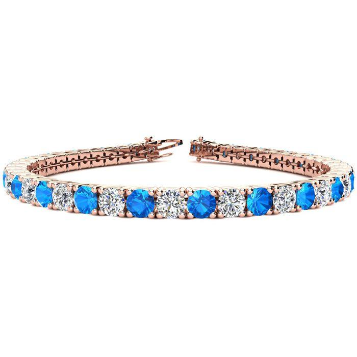 8 Inch 12 Carat Blue Topaz and Diamond Tennis Bracelet In 14K Rose Gold
