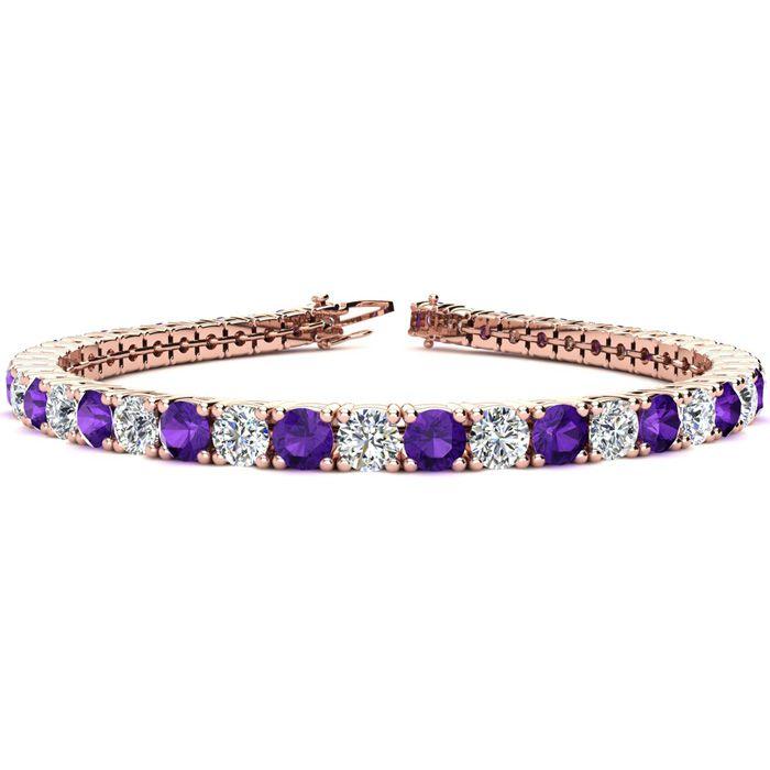 9 Inch 11 34 Carat Amethyst and Diamond Tennis Bracelet In 14K Rose Gold