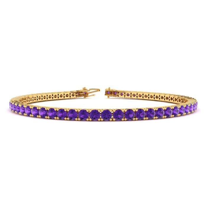 6 Inch 3 1/2 Carat Amethyst Tennis Bracelet in 14K Yellow Gold (8