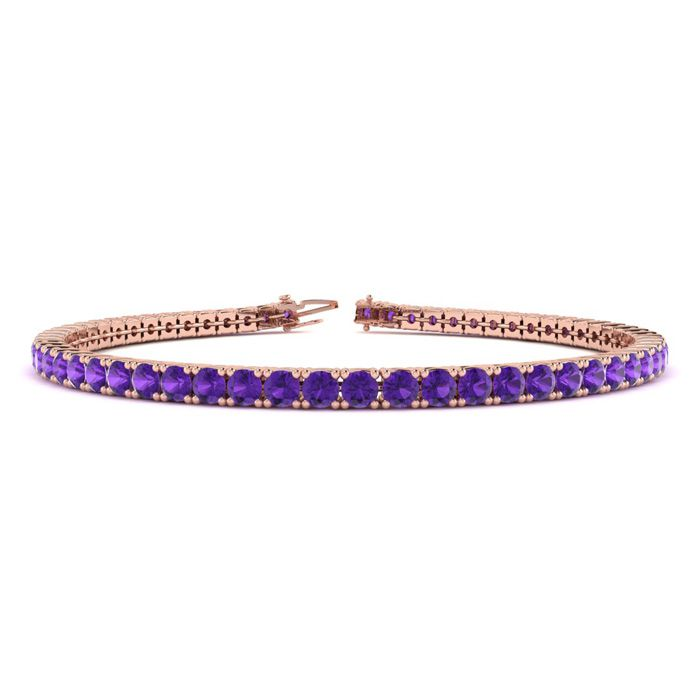 9 Inch 5 Carat Amethyst Tennis Bracelet in 14K Rose Gold (12.1 g)