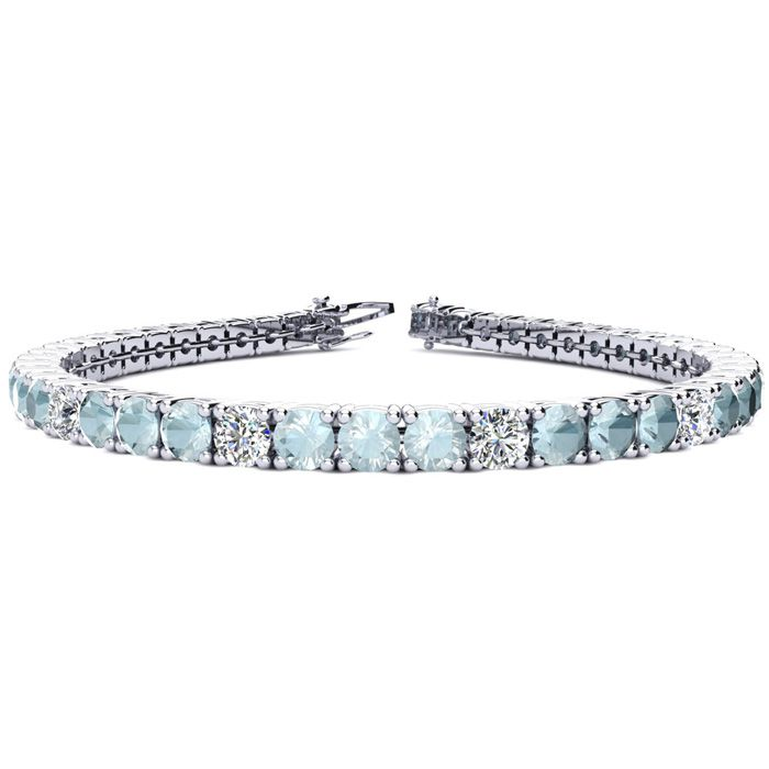 6.5 Inch 7 1/4 Carat Aquamarine & Diamond Alternating Tennis Bracelet in 14K White Gold (11.1 g), I/J by SuperJeweler