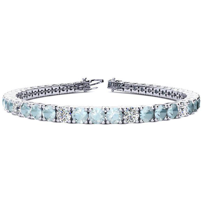 9 Inch 10 Carat Aquamarine & Diamond Alternating Tennis Bracelet in 14K White Gold (15.4 g), I/J by SuperJeweler