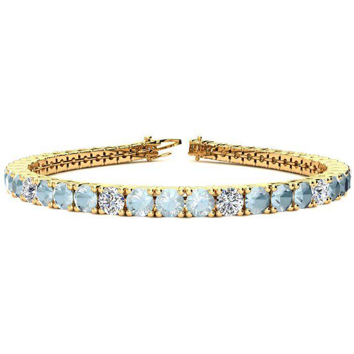 6.5 Inch 7 1/4 Carat Aquamarine & Diamond Alternating Tennis Bracelet in 14K Yellow Gold (11.1 g), I/J by SuperJeweler