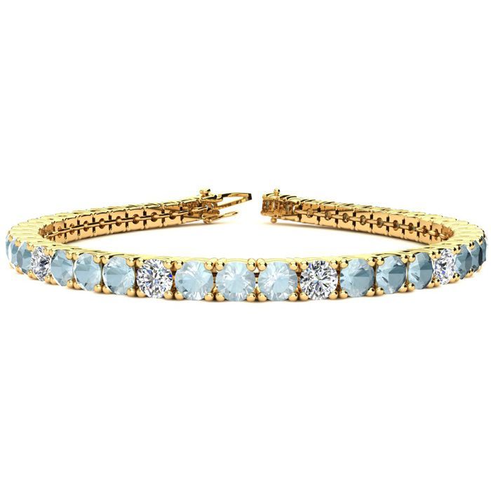 9 Inch 10 Carat Aquamarine and Diamond Alternating Tennis Bracelet In 14K Yellow Gold 27432