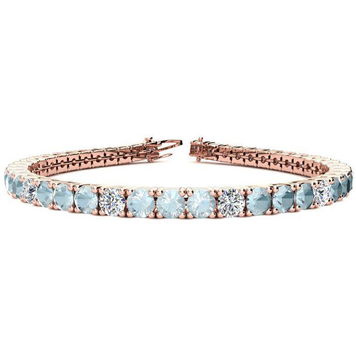 6 Inch 6 1/2 Carat Aquamarine & Diamond Alternating Tennis Bracel