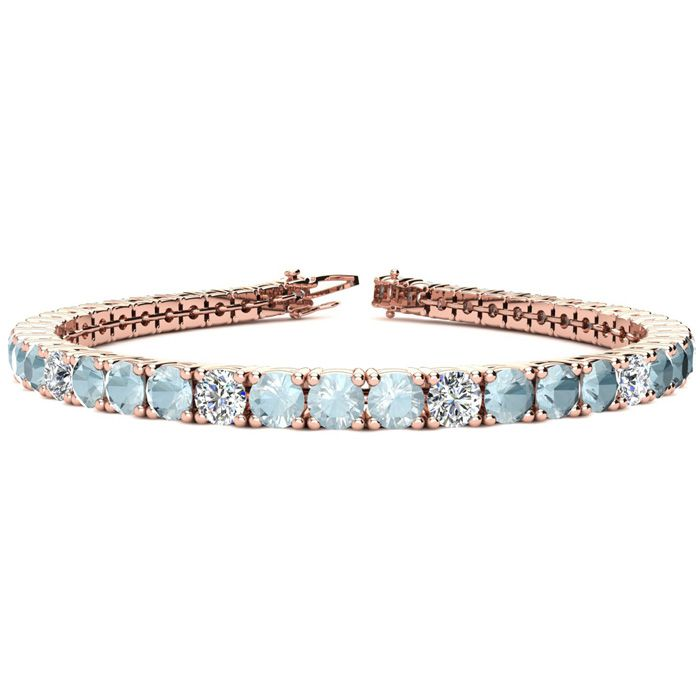6.5 Inch 7 1/4 Carat Aquamarine & Diamond Alternating Tennis Bracelet in 14K Rose Gold (11.1 g), I/J by SuperJeweler