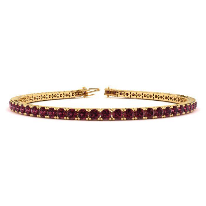 7 Inch 4 1/2 Carat Garnet Tennis Bracelet in 14K Yellow Gold (9.4 g) by Sundar Gem