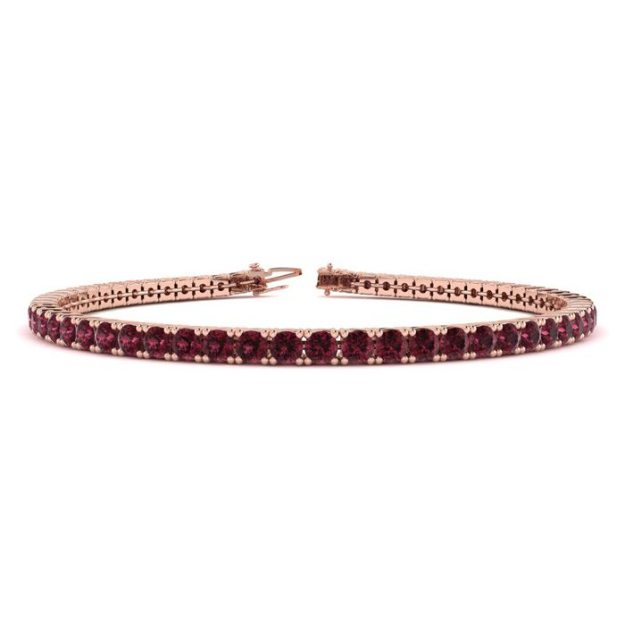 6 Inch 4 Carat Garnet Tennis Bracelet in 14K Rose Gold (8.1 g) by