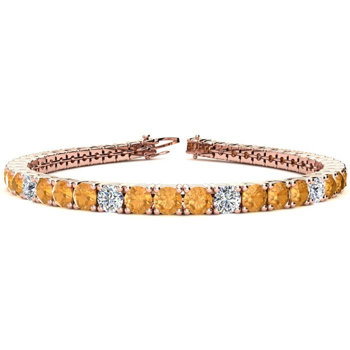 7.5 Inch 9 3/4 Carat Citrine & Diamond Alternating Tennis Bracele