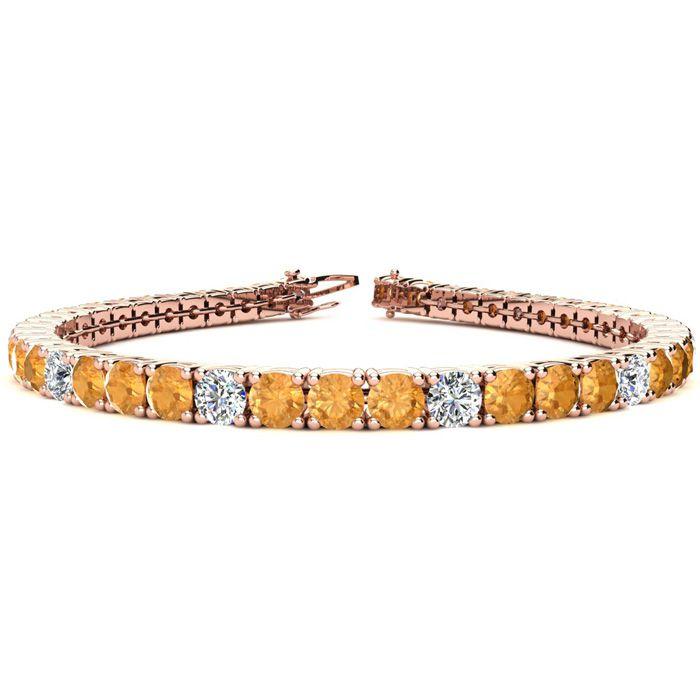 8 Inch 10 1/2 Carat Citrine & Diamond Alternating Tennis Bracelet
