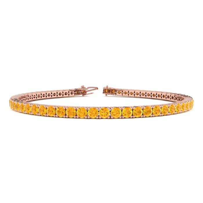 4 1/4 Carat Citrine Tennis Bracelet in 14K Rose Gold (8.1 g), 6 I