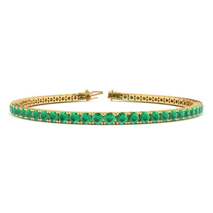 5 Carat Emerald Tennis Bracelet in 14K Yellow Gold (8.1 g), 6 Inc