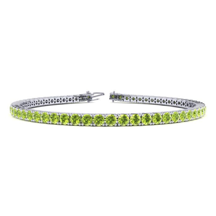 4 1/4 Carat Peridot Tennis Bracelet in 14K White Gold (8.1 g), 6